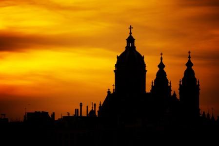美丽建筑教堂,黄昏风景,古老,宗教,日落,塔,阿姆斯特丹,5k风景图片