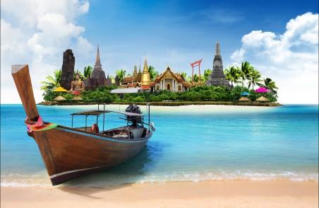 泰国风景 小岛 船 寺庙 佛像 4K超高清壁纸推荐