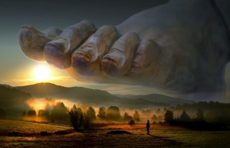 巨大的神脚 景观 太阳 雾 草地 森林 5k图片