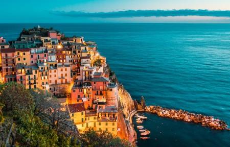 美丽的五渔村3440x1440风景高端电脑桌面壁纸