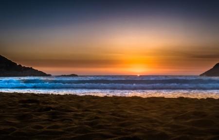夕阳 西 海 天空 夜晚 海滩 希腊 3440x1440风景高端电脑桌面壁纸