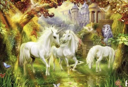 独角兽,白马,小溪,鱼,蝴蝶,树,城堡,托马斯金凯德风景绘画图片
