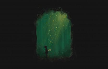森林里拿着书的男生4K超高清壁纸精选