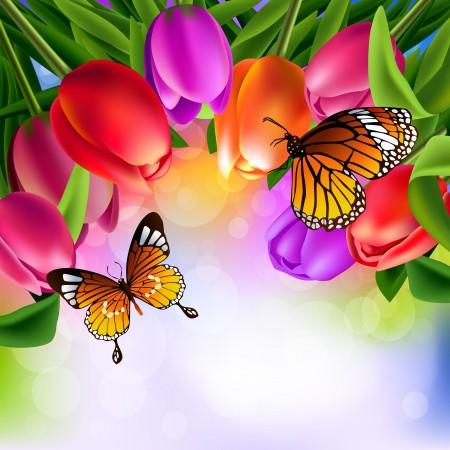 郁金香花,蝴蝶,适量,素描,6k背景图片
