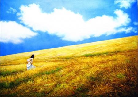 金色麦浪里的少女油画图片