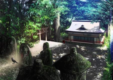森林 神社 乌鸦 动漫插画风景4k高清壁纸极品游戏桌面精选