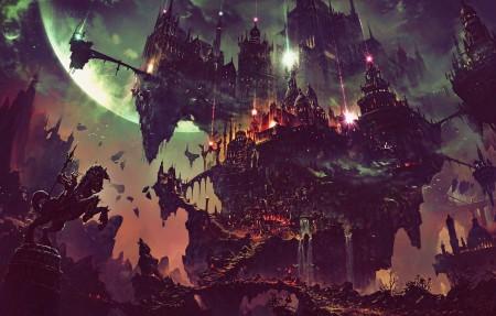 黑夜 科幻 幻想艺术 星球 城堡 建筑 4k超高清壁纸精选