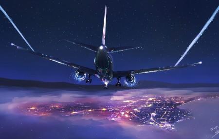 飞机夜间飞行4k动漫高端电脑桌面壁纸