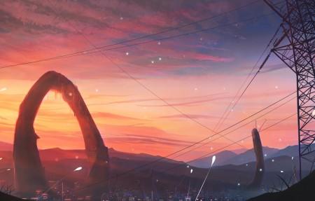 电线塔唯美动漫风景4k高端电脑桌面壁纸