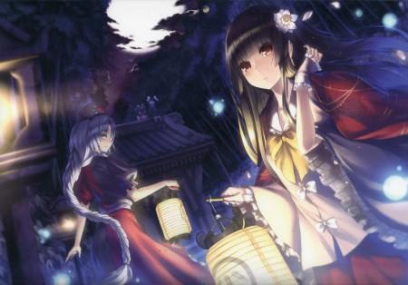 森林,夜晚,微笑,女孩,灯笼,4k动漫高端电脑桌面壁纸