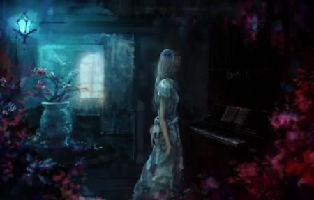 女孩 钢琴 房间 花瓶 灯 4k动漫高清壁纸极品游戏桌面精选