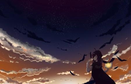 天空,女孩,鸟儿,羽毛,书,4k超高清壁纸推荐