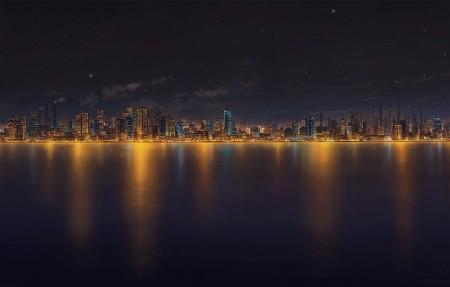海边的城市夜晚风景4K动漫壁纸超高清图片下载