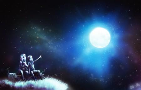 夜晚,星空,月亮,女孩,男孩,赏月,4K动漫高端电脑桌面壁纸