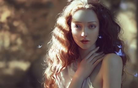 女孩,长头发,蝴蝶,唯美4k超高清壁纸精选