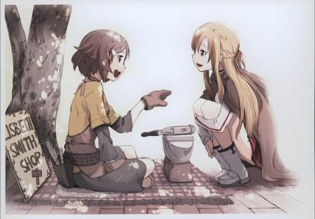 两个女孩树下坐着微笑对话4K动漫高端电脑桌面壁纸