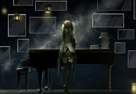女孩,动漫,钢琴,艺术,vocaloid,初音未来高清壁纸极品游戏桌面精选