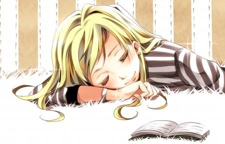 睡着的女孩和书4k超高清壁纸精选