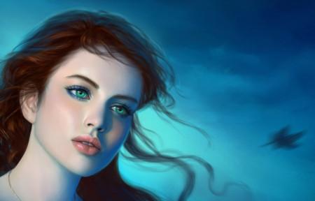 幻想的女孩,绿色的眼睛,3440x1440高端电脑桌面壁纸