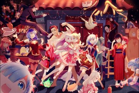 欢乐夜晚 喜庆 庆祝 女生 新年 新春节日快乐7k动漫超高清壁纸精选