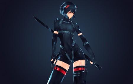 红色眼睛动漫美女战士剑4K高端电脑桌面壁纸