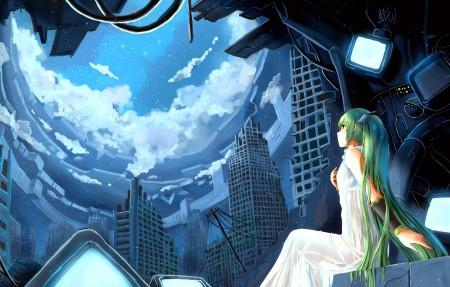 晚上 城市 星星 云 VOCALOID 女孩 初音未来4K高端电脑桌面壁纸