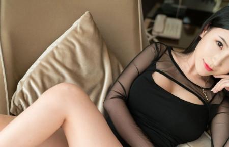 谢芷馨 黑色内衣 3440x1440美女超高清壁纸精选