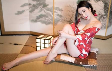 红色和服性感身材美腿美女谢芷馨4k高端电脑桌面壁纸3840x2160