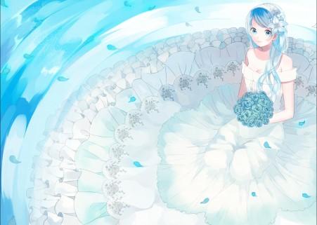 装扮 蓝色 女孩 玫瑰 美丽婚纱 4K动漫超高清壁纸精选