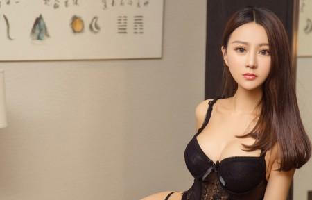 黑色内衣美女韩乐优3440x1440高端电脑桌面壁纸