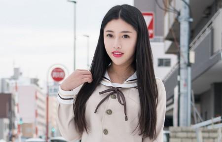 陈嘉嘉 长发 白色衬衫美女3440x1440高端电脑桌面壁纸