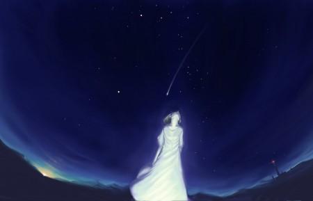 女孩 晚上 灯塔 天空 星星 5K动漫高端电脑桌面壁纸