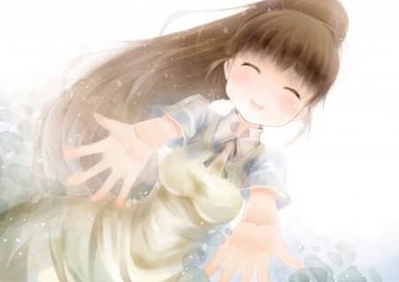 可爱女孩 敞开双手拥抱 4K高端电脑桌面壁纸