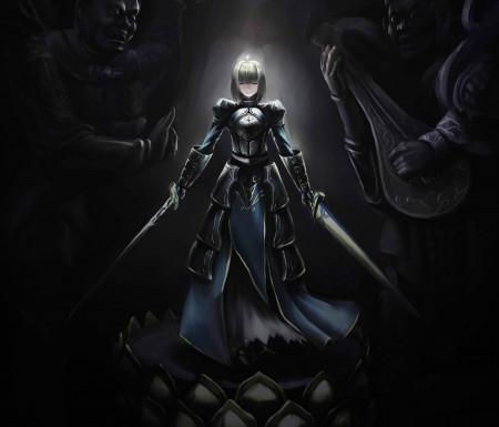 命运之夜 女孩 微笑 武器 盔甲 剑 雕像 军刀 saber5K超高清壁纸精选