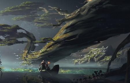 《战神God of War 2017》游戏风景3440x1440高端电脑桌面壁纸