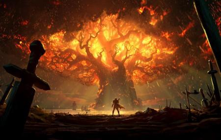 魔兽世界泰达希尔,树,火,魔兽世界4K高端电脑桌面壁纸