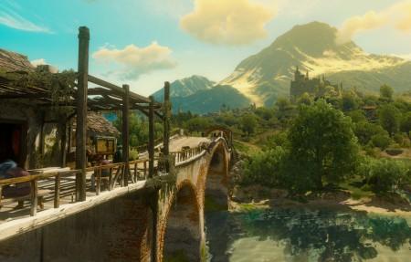 城堡,森林,河流,桥梁,巫师3:狂猎,游戏风景4k高端电脑桌面壁纸
