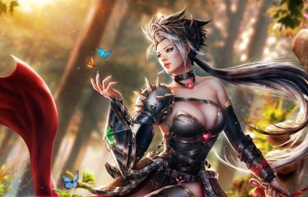 精灵,森林,蝴蝶,唯美女孩3440x1440高端电脑桌面壁纸