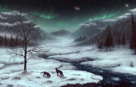 Snowy Skyrim游戏风景4K高端电脑桌面壁纸