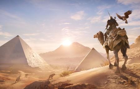 刺客信条起源,沙漠,埃及的金字塔,骆驼,刺客信条起源4K高端电脑桌面壁纸