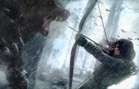 女孩 雪 狼 弓箭 拉拉克罗夫特 古墓丽影4K游戏高端电脑桌面壁纸