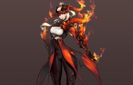 剑灵,女孩,火,3840x2160游戏高清壁纸极品游戏桌面精选