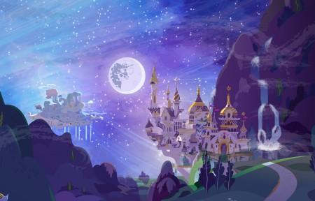 命运,城堡,星空,3440x1440游戏高端电脑桌面壁纸