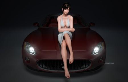 【3840x2160】死或生5 Dead or Alive 5 跑车 游戏美女4K高端电脑桌面壁纸