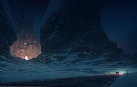 雪夜 远方城堡 公路 汽车 4k唯美超高清壁纸精选