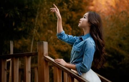 公园 走道 木栅栏 美女风景4K超高清壁纸精选