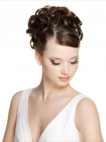 白色深V裙卷发盘头美女5K超高清壁纸精选