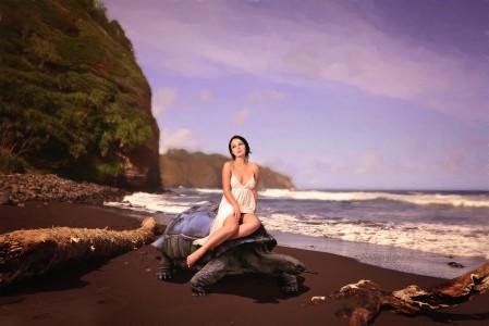 女孩 海岸 海龟 7K美女高清壁纸极品游戏桌面精选图片