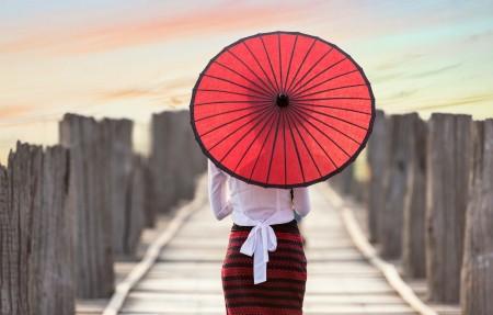 油纸伞美女背部图片