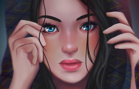 女孩,眼睛,脸绘画的图片